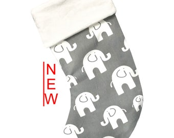 Gray Elephant Christmas Stocking