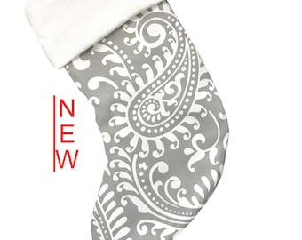 Gray Paisley Christmas Stocking