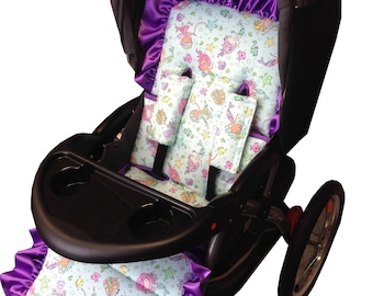 Mermaids Stroller Liner-Reversible to Aqua Minky