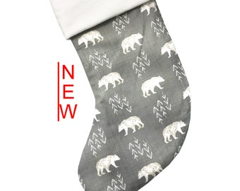 Gray Cubby Christmas Stocking