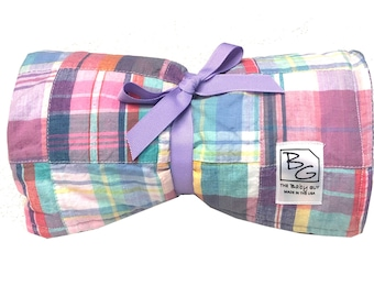 Patchwork Plaid Back 2 Basics Stroller Blanket