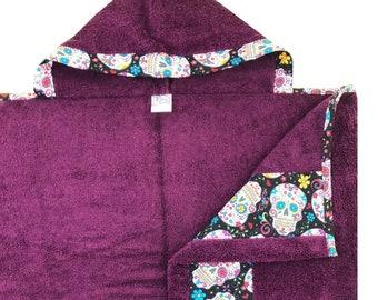 Purple Sugar Skulls Hooded Towel