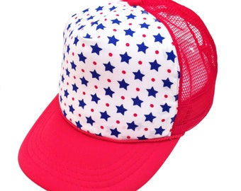 Red White & Blue Star Trucker Hat- Youth Sized