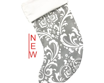 Gray Damask Christmas Stocking
