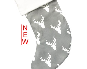 Gray Deer Christmas Stocking