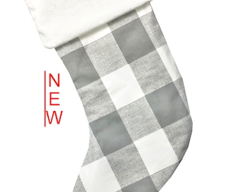Gray Buffalo Check Christmas Stocking