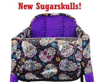 Sugarskulls Restaurant High Chair Cover Black Purple Hot Pink