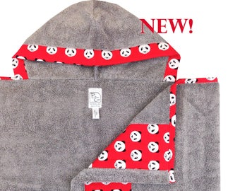 Panda Hooded Towel Gray