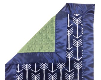 Navy Arrows Security Blanket Navy Olive Green