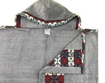 Aztec Gray Hooded Towel