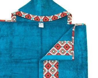 Aztec Aqua Hooded Towel