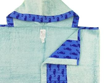 Aqua Seahorse Hooded Towel