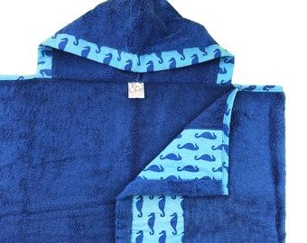 Seahorse Blue Hooded Towel