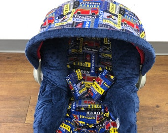 Firemen Infant Car Seat Cover