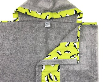 Lime Penguin Hooded Towel