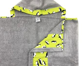 Lime Penguin Hooded Towel