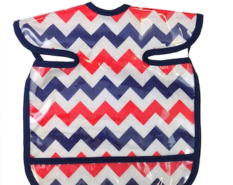Red White and Blue Chevron Apron Bib