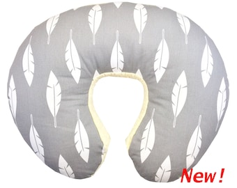 Gray Feather Boppy Pillow Cover