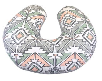 Boho Desert Boppy Pillow Cover Gray Green Terracotta