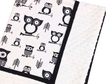 Crib Blanket Black Owls