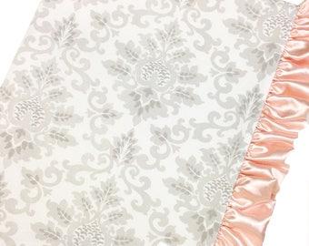 Crib Blanket French Gray Damask