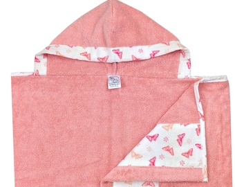 Peach Butterflies Hooded Towel