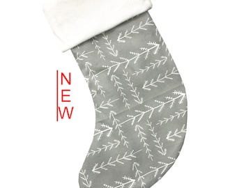 Gray Stitched Christmas Stocking