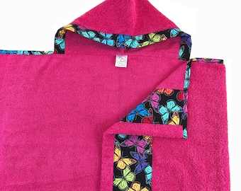 Prism Butterfly Hot Pink Hooded Towel