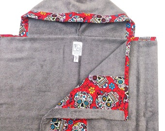 Sugar Skulls Hooded Towel Red