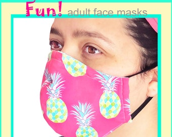 FUN! Adult Face Mask - Cotton Face Mask - Mask With Filter Pocket - Washable Mask -  3 Fabric Layers -  Proudly Made In USA!