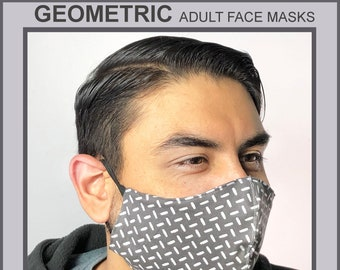 GEOMETRIC Adult Face Masks- Cotton Face Mask - Mask With Filter Pocket - Washable Mask -   3 Fabric Layers -  Proudly Made In USA!