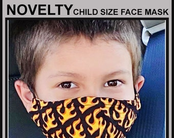 NOVELTY Child Size Face Masks- Cotton Face Mask - Mask With Filter Pocket - Washable Mask -   3 Fabric Layers -  Proudly Made In USA!