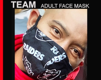 TEAM Adult Face Mask - Cotton Face Mask - Mask With Filter Pocket - Washable Mask -  3 Fabric Layers -  Proudly Made In USA!