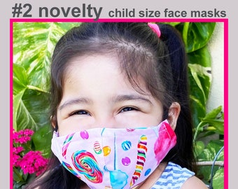 NOVELTY #2 Child Face Mask - Cotton Face Mask - Mask With Filter Pocket - Washable Mask -   3 Fabric Layers -  Proudly Made In USA!
