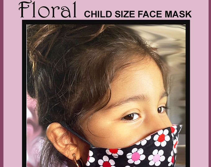 Featured listing image: FLORAL Child Size Face Mask - Cotton Face Mask - Mask With Filter Pocket - Washable Mask -  3 Fabric Layers -  Proudly Made In USA!