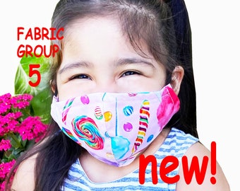 Child Size Face Mask Group Five - Cotton Face Mask - Mask With Filter Pocket - Washable Mask -  3 Fabric Layers -  Proudly Made In USA!