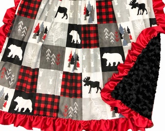 Christmas with Ruffles Adult Sized Deluxe Minky Throw Blanket