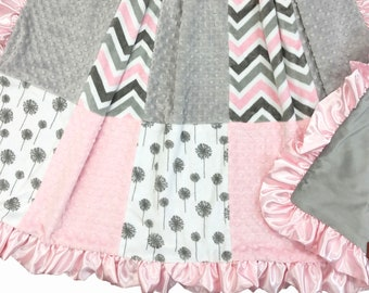 Pink and Gray Chevron/Dandelion Deluxe Minky Adult Blanket