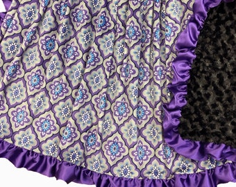 Purple Mosaic Deluxe Minky Adult Sized Blanket