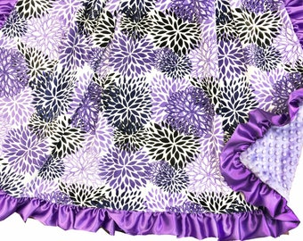 Purple Blooms Deluxe Minky Adult Sized Throw Blanket