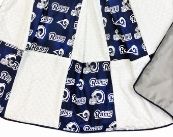Rams Deluxe Minky Adult Sized throw Blanket
