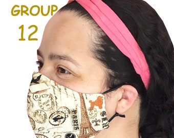 Adult Face Mask Group Twelve- Cotton Face Mask - Mask With Filter Pocket - Washable Mask -  3 Fabric Layers -  Proudly Made In USA!