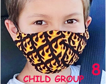 Child Face Mask Group Eight - Cotton Face Mask - Mask With Filter Pocket - Washable Mask -   3 Fabric Layers -  Proudly Made In USA!