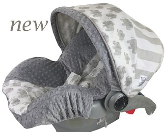 Linen Elephant Infant Car Seat Cover