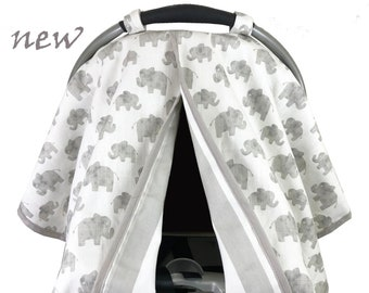 Linen Elephant Car Seat Tent -  Car Seat Canopy