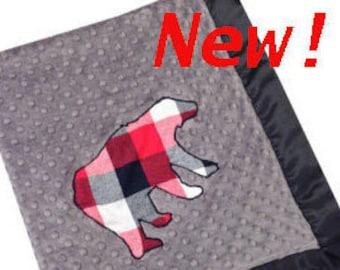 Plaid Bear Stroller Blanket