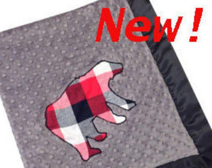 Featured listing image: Plaid Bear Stroller Blanket