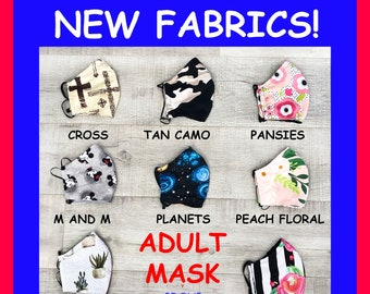 Adult Face Mask Group Thirteen - Cotton Face Mask - Mask With Filter Pocket - Washable Mask -  3 Fabric Layers -  Proudly Made In USA!
