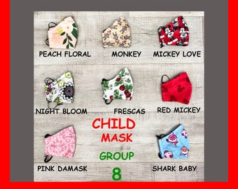 Child Face Mask Group Eight- Cotton Face Mask - Mask With Filter Pocket - Washable Mask -   3 Fabric Layers -  Proudly Made In USA!