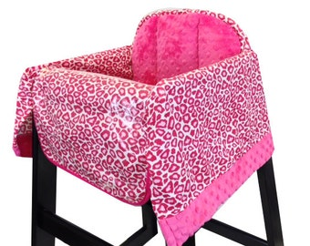 Hot Pink Cheetah High Chair Cover Restaurant